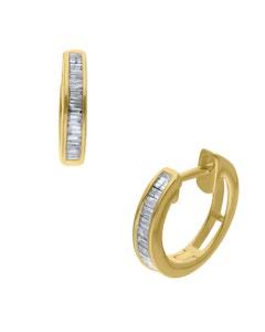 Arracadas de Oro Amarillo 14K con 12Pts de Diamante Corte Baguette
