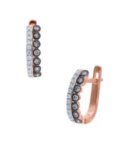Arracadas de Oro Rosa 14K con 40Pts de Diamante Blanco y Café (G-H) (V1-Vs2)