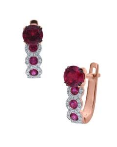 Arracadas de Oro Rosa 14K con 15Pts de Diamante (G-H) (Vs1-Vs2) con Rubi