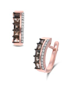 Arracadas De Oro Rosa 14K Con 12Pts De Diamante Y Smoky (Vs1-Vs2) (G-H)