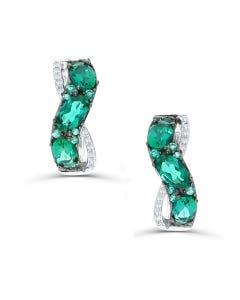 Arracadas De Oro Blanco 14K Con 7Pts De Diamante Y Esmeralda