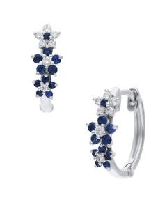 Arracadas de Oro Blanco 14K con 12Pts de Diamante y Zafiro