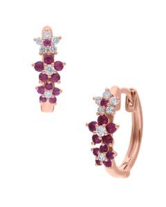 Arracadas de Oro Rosa 14K con 12Pts de Diamante y Rubi