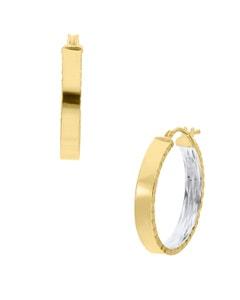 Arracadas de Oro Amarillo 14K con Platinado