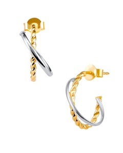 Arracadas de Oro Amarillo y Blanco 14K