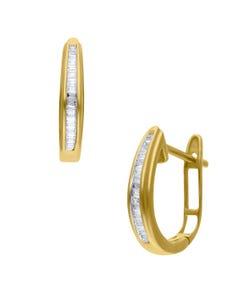 Arracadas De Oro Amarillo 10K Con 13Pts De Diamante