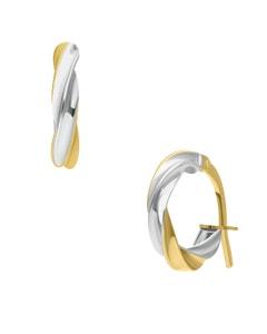 Arracadas de Oro Amarillo Conplatinado Espiral Chicas 14K 8Mm