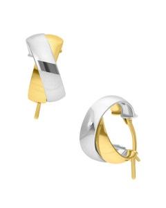 Arracadas de Oro Amarillo y Blanco Doble Redondas Planas 14K 10Mm