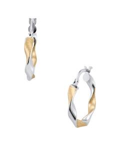 Arracadas de Oro Bicolor Consatinado Espiral 14K