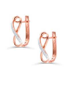 Arracadas De Oro Rosa 14K Con 6Pts De Diamante (Vs1-Vs2) (G-H)
