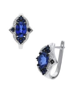 Arracadas de Oro Blanco 14K con 13Pts de Diamante y Zafiro