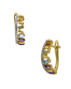 Arracadas de Oro Amarillo 14K con 7Pts de Diamante y Piedras de Color (G-H, I1-I2)