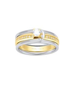 Anillo de Compromiso de Oro Combinado 14K con 1 Diamante de 14 Puntos y 20 Diamantes de .25 Puntos