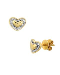Broqueles de Oro Amarillo 14K con 7Pts Diamante