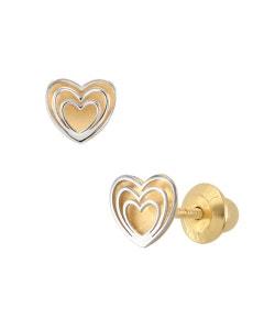 Broqueles de Oro Blanco y Amarillo 14K En Forma de Corazon