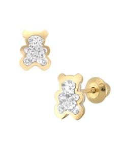 Broqueles de Oro Amarillo 14K Conzirconia En Forma de Oso