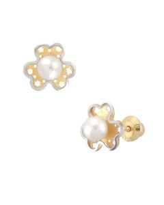 Broqueles de Oro Amarillo con Blanco 14K con Perla