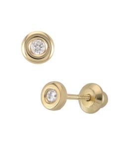 Broqueles de Oro Amarillo con Zirconia 14K
