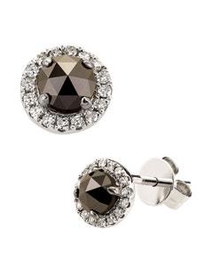 Broqueles de Oro Blanco de 14K con 65Pts de Diamante Blanco y Negro