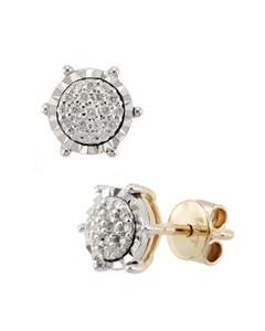 Broqueles de Oro Blanco con 14 Pts de Diamante 14K