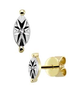 Broqueles de Oro Amarillo 14K con Platinado y 1Pt de Diamante