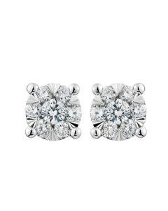 Aretes de Oro Blanco de 14K con 20Pts de Diamante Cada Arete