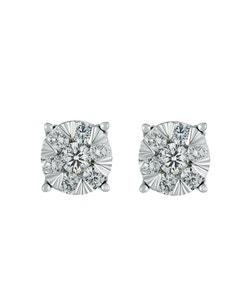 Aretes de Oro Blanco de con 35 Pts de Diamante Cada Arete