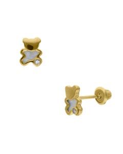 Broqueles de Oro Amarillo 14K con 1Pt de Diamante y Nacar