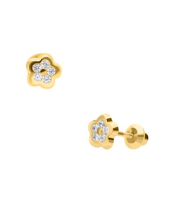 Broqueles de Oro Amarillo de 14K con Zirconia
