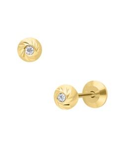 Broqueles de Oro Amarillo 14K con Zirconia