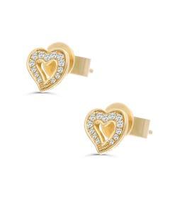 Broqueles Oro Amarillo 14K Con 11 Pt De Diamante