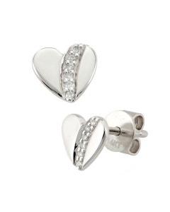 Broqueles de Oro Blanco con 5 Puntos de Diamante 14K