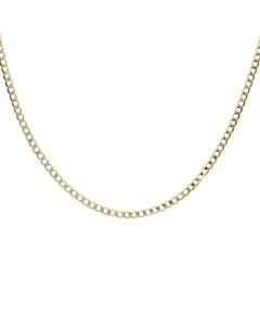 Cadena de Oro Amarillo con Diamantado Platinado de 14K 60Cm Cal 50
