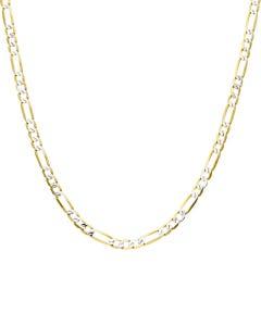 Cadena De Oro Amarillo Con Diamantado Platinado De 14K 40Cm Cal 65