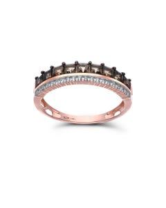 Churumbela De Oro Rosa 14K Con 12Pts De Diamante Y Smoky (Vs1-Vs2) (G-H)
