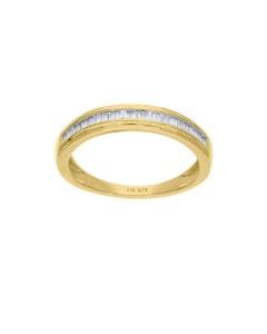 Churumbela de Oro Amarillo 14K con 18Pts de Diamante Corte Baguette