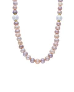 Collar de Oro Amarillo de 14K con Perla Multicolor