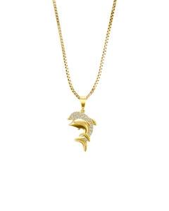 Dije de Delfines de Oro Amarillo y Cadena con Zirconias