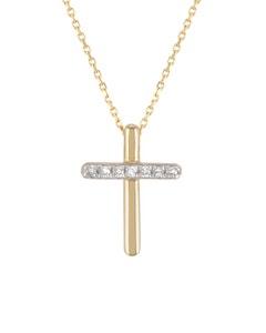 Crucifijo de Oro Amarillo con Cadena 14 K con 2 Pts de Diamante