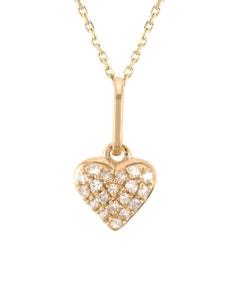 Dije de Corazon En Oro Rosa y Cadena Oro Blanco con 6 Pts de Diamante