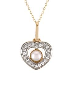 Dije de Corazon En Oro Combinado con 5 Pts de Diamante y Perla