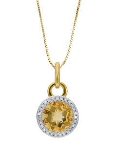 Dije Oro Amarillo Con Cadena 14K Con 8Pts Diamante Y Citrina