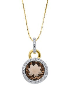Dije Oro Amarillo Con Cadena 14K Con 8Pts De Diamante Y Smoky