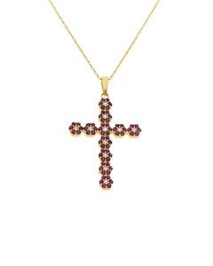 Crucifijo de Oro Amarillo con Cadena 14K con Zirconias Blancas y Rojas