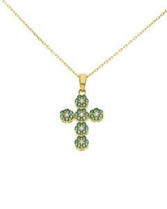 Crucifijo de Oro Amarillo 14K con Cadena y Zirconias Blancas y Verdes