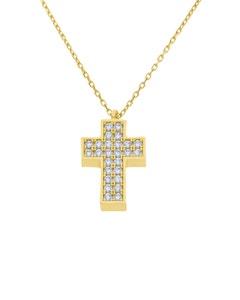 Crucifijo de Oro Amarillo con Cadena 14K y Zirconias
