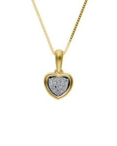 Dije de Oro Amarillo con Cadena 14K con 5 Pts de Diamante