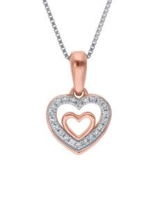 Dije de Oro Rosa con Cadena 14K con 5Pts de Diamante