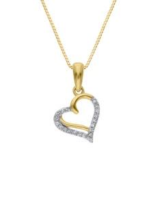 Dije de Oro Amarillo con Cadena 14K con 4 Pts de Diamante