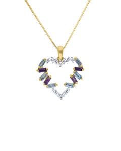 Dije de Oro Amarillo con Cadena 14K con 15Pts de Diamante y Piedras de Color (G-H, I1-I2)